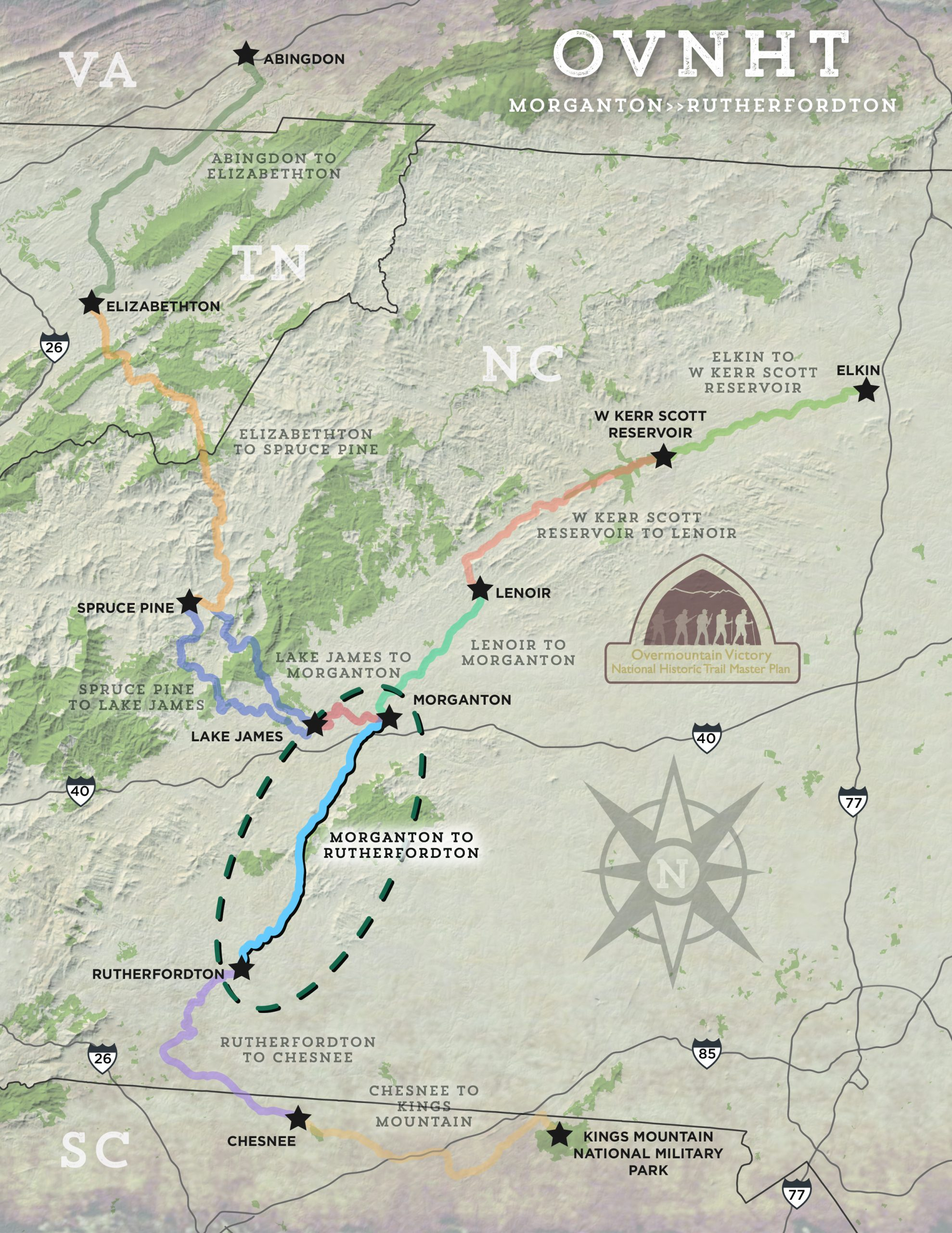 Morganton to Rutherfordton section map